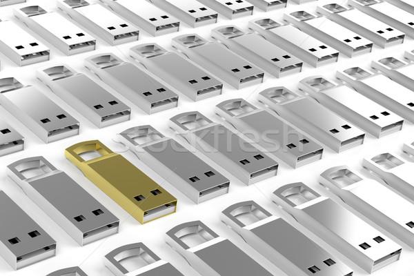 Groep usb zilver een verschillend goud Stockfoto © magraphics