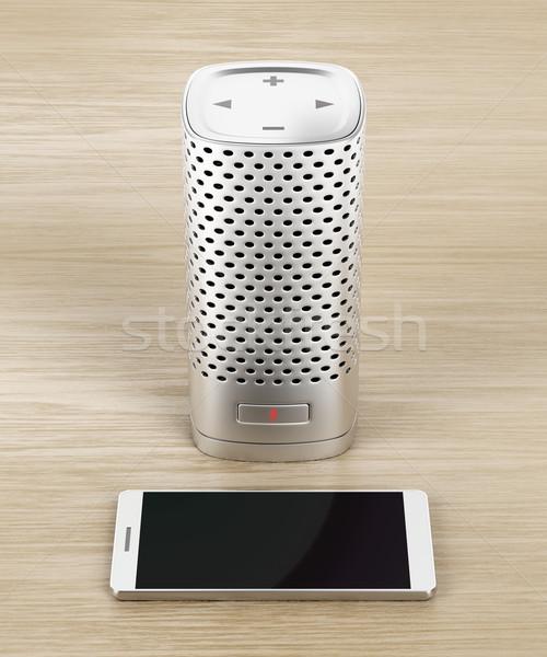 Okos hangszóró okostelefon ezüst fa mikrofon Stock fotó © magraphics