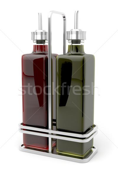 Aceite de oliva vinagre metal vidrio restaurante petróleo Foto stock © magraphics