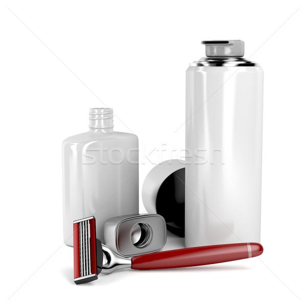 Navalha espuma loção após barba segurança bálsamo branco Foto stock © magraphics
