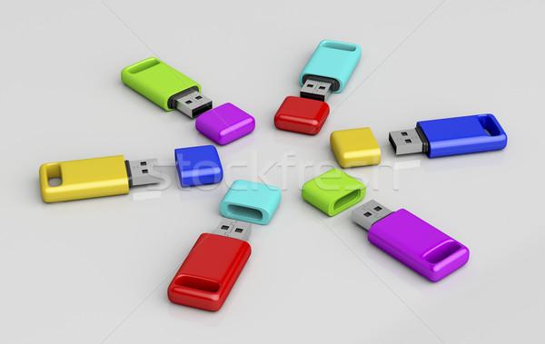Grupo colorido usb memória diferente cores Foto stock © magraphics