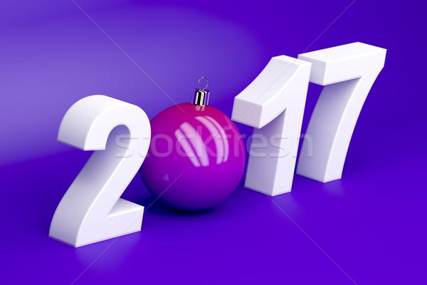 Feliz año nuevo tarjeta púrpura color calendario pelota Foto stock © magraphics