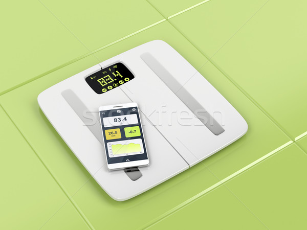 Smart body analyzer and smartphone Stock photo © magraphics