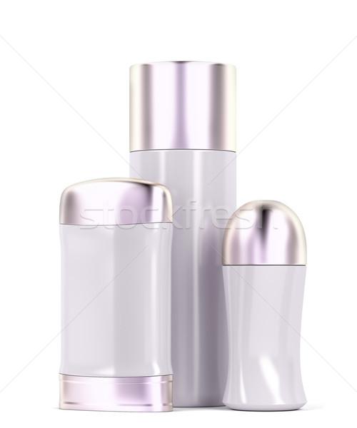 Set of female deodorants on white background Stock photo © magraphics