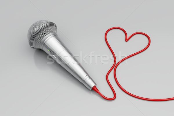マイク 赤 中心 音楽 愛 画像 ストックフォト © magraphics