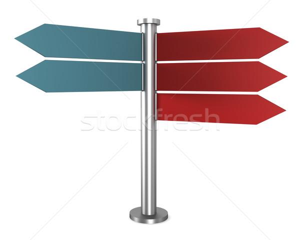 方向 標識 空っぽ 青 赤 孤立した ストックフォト © magraphics