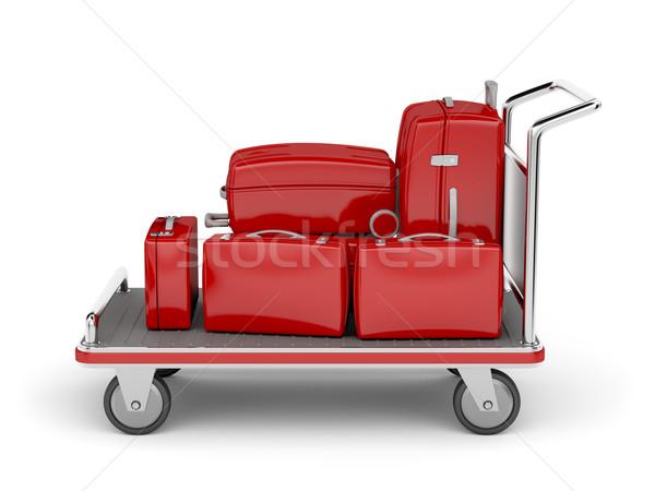 Repülőtér csomagok kosár piros bőröndök fehér Stock fotó © magraphics