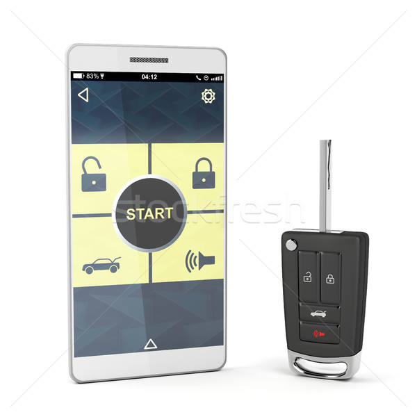 Smartphone and car key Stock photo © magraphics