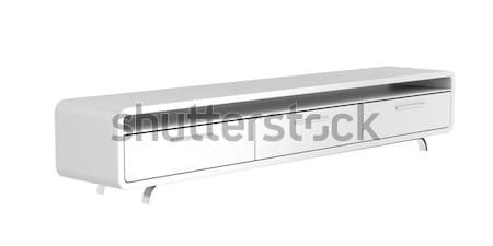 Foto stock: Tv · suporte · moderno · isolado · branco · casa