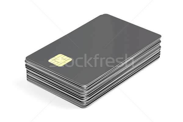 Stack with blank plastic cards with chip Stock photo © magraphics