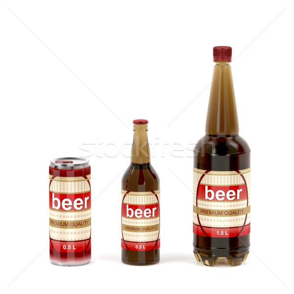 Photo stock: Bière · blanche · différent · boire · bouteille · plastique
