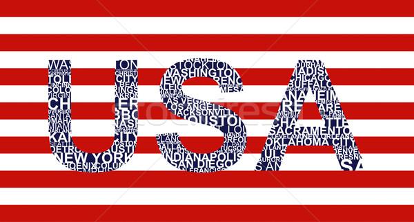 Texto EUA ilustração cidade etiqueta Foto stock © magraphics
