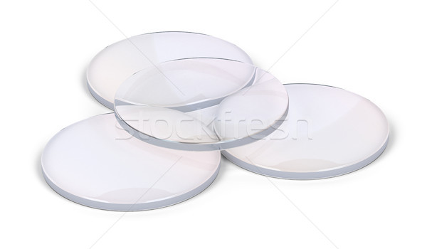 Group of eyeglasses lens on white Stock photo © magraphics