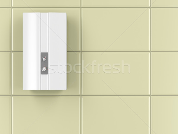 Automático água aquecedor banheiro parede alto Foto stock © magraphics
