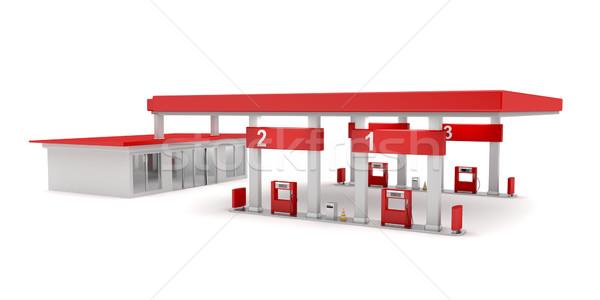Stacji benzynowej biały budynku budowy przemysłu oleju Zdjęcia stock © magraphics