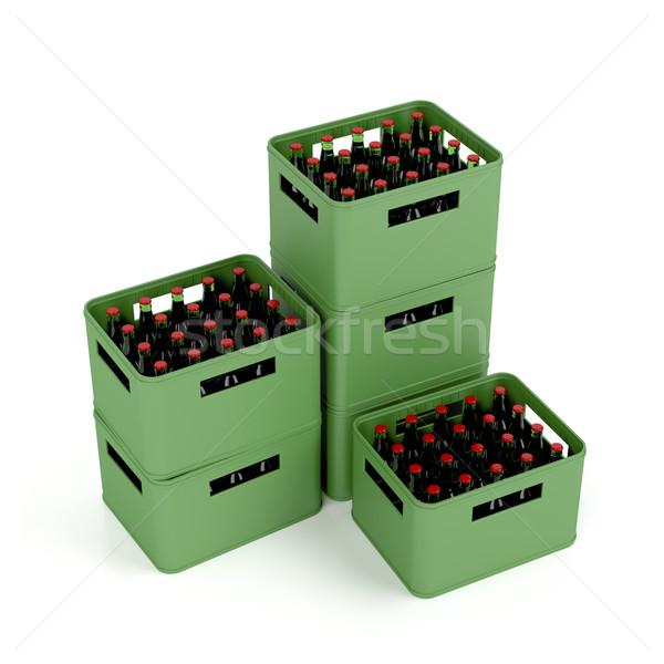 Világos sör sör fehér üveg doboz ital Stock fotó © magraphics