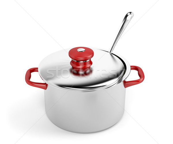 Edény merőkanál fehér konyha piros főzés Stock fotó © magraphics