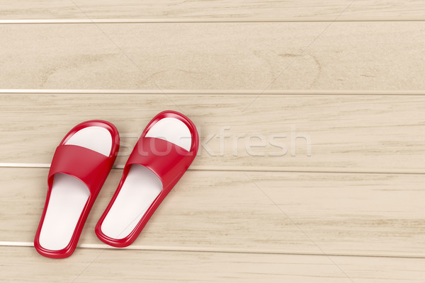 Rood slippers vloer Stockfoto © magraphics