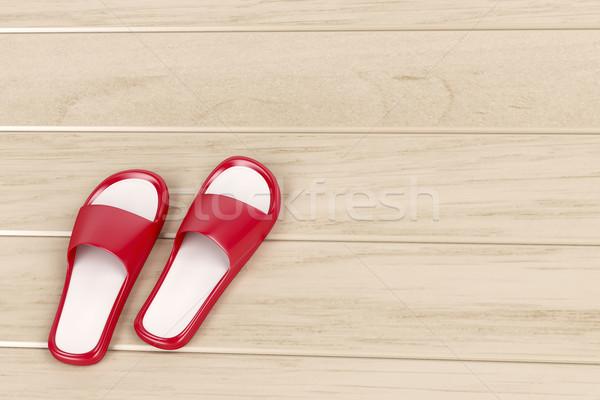 Czerwony kapcie piętrze Zdjęcia stock © magraphics