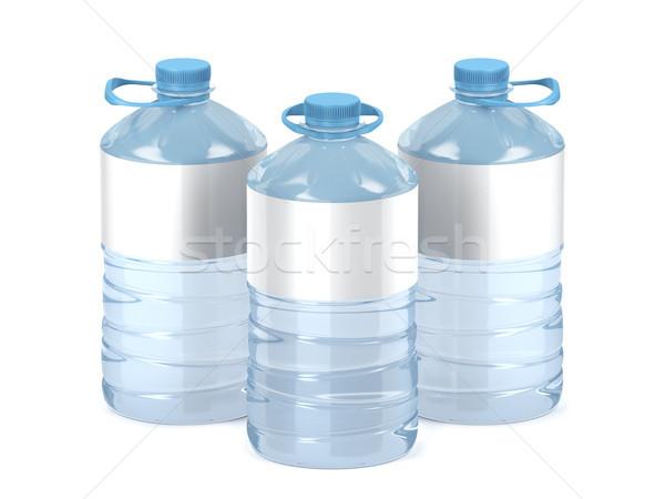 Nagy műanyag víz üvegek fehér címkék Stock fotó © magraphics