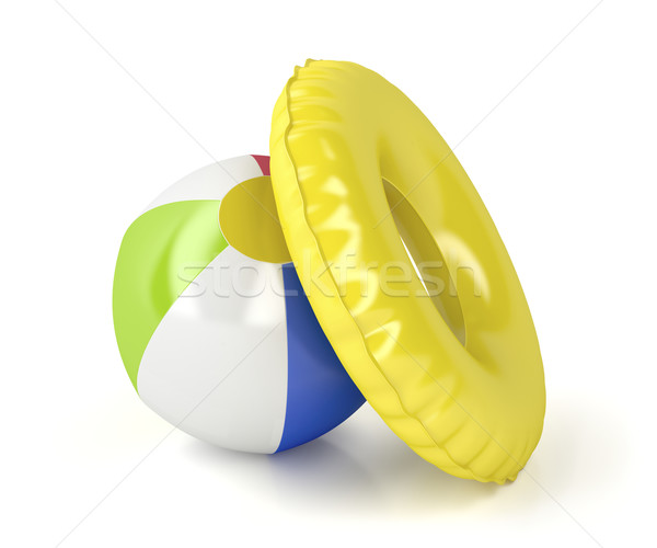 Beach ball and swim ring Stock photo © magraphics