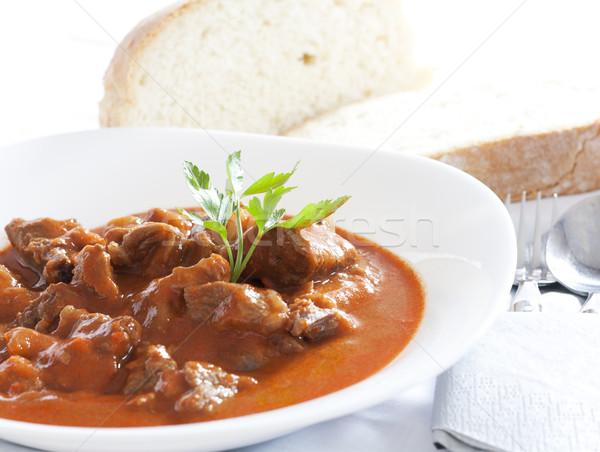 Estofado servido blanco tazón pan alimentos Foto stock © magraphics