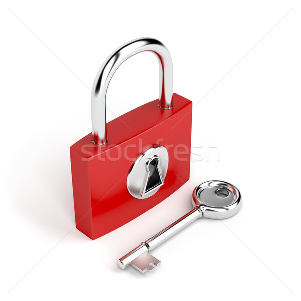 Cadenas clé blanche rouge lock sûr Photo stock © magraphics