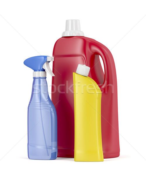 Plastik deterjan şişeler beyaz çamaşırhane konteyner Stok fotoğraf © magraphics