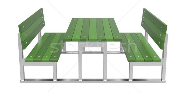 Picknicktafel moderne witte tuin metaal tabel Stockfoto © magraphics