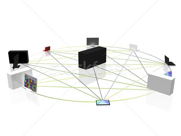 ストックフォト: コンピュータ · ネットワーク · サークル · ビジネス · インターネット · 技術