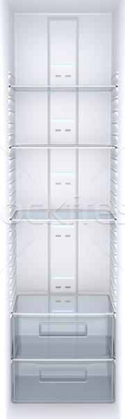 Photo stock: Vide · frigo · à · l'intérieur · vue · blanche · réfrigérateur