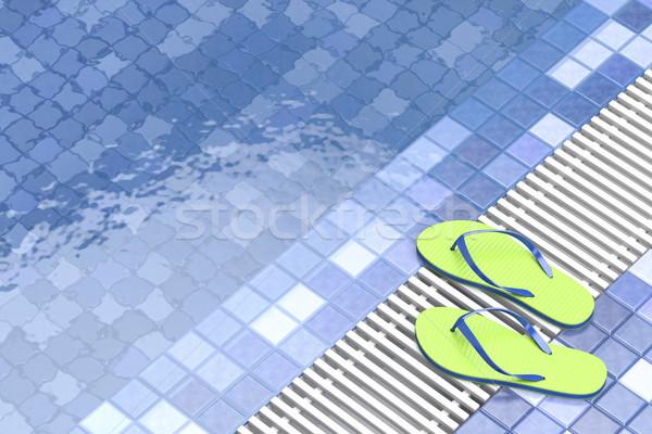 Papucs úszómedence 3d illusztráció tengerpart nyár medence Stock fotó © magraphics