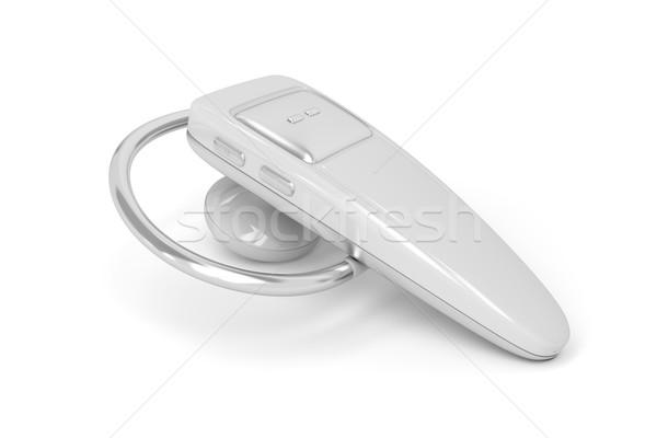 Bluetooth casque blanche téléphone métal micro Photo stock © magraphics