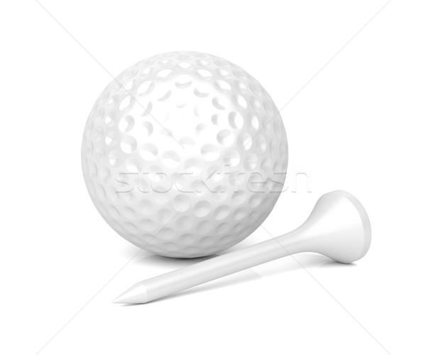 Golf topu parlak beyaz spor top plastik Stok fotoğraf © magraphics