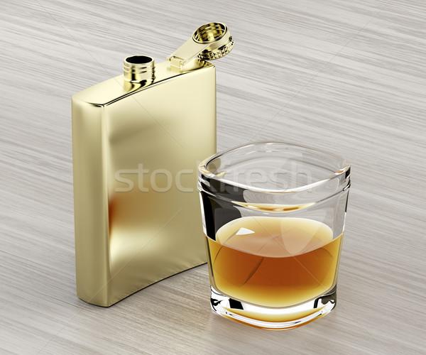 Cadera vidrio whisky dorado mesa de madera Foto stock © magraphics