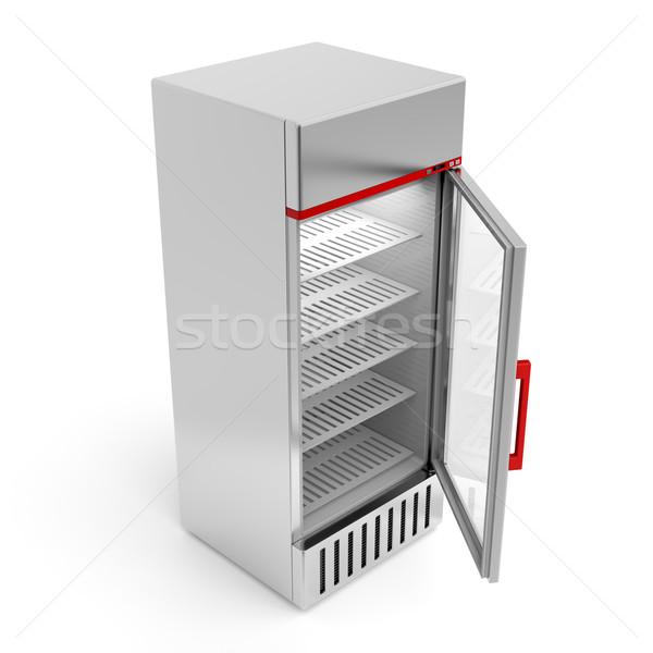 ストックフォト: 銀 · 冷蔵庫 · オープンドア · ガラス · ドリンク · ショップ