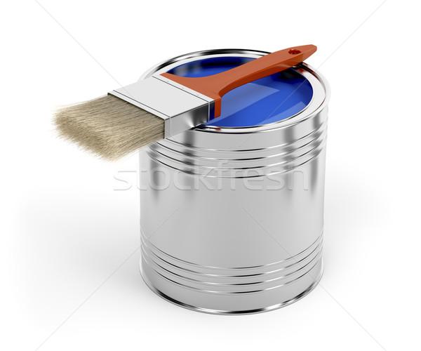 Ecset festékes flakon kék szín haj fém Stock fotó © magraphics