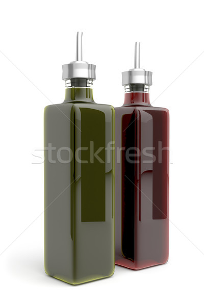 Aceite de oliva vinagre blanco alimentos petróleo botella Foto stock © magraphics