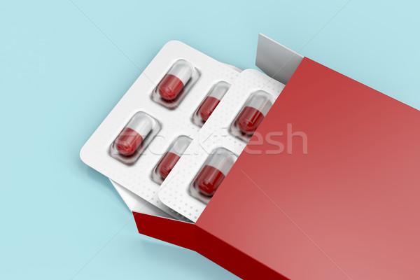 カプセル 赤 ボックス ブリスター パック 健康 ストックフォト © magraphics