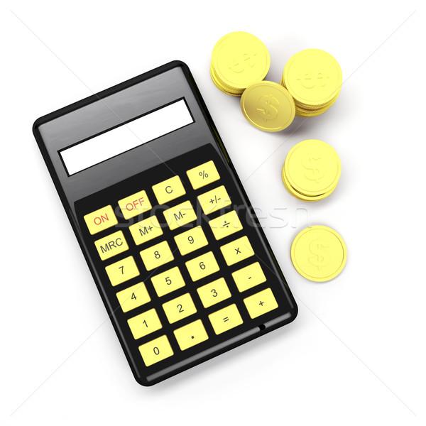 Сток-фото: калькулятор · монетами · черный · доллара · изолированный