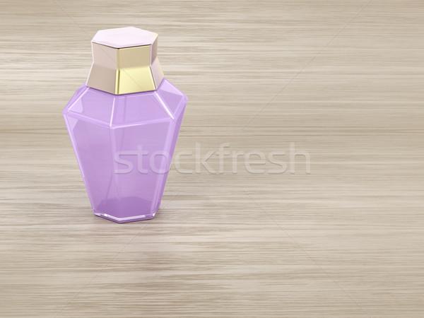 духи деревянный стол женщины бутылку древесины спрей Сток-фото © magraphics