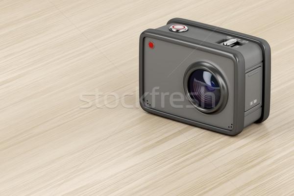 デジタル アクション カメラ 3次元の図 カム 木製のテーブル ストックフォト © magraphics