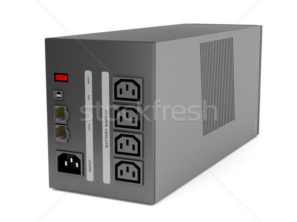Blanche vue arrière source de courant réseau Retour électriques Photo stock © magraphics