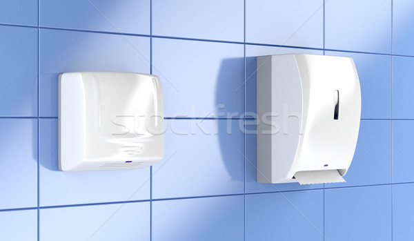 Stock photo: Paper towel dispenser and hand dryer