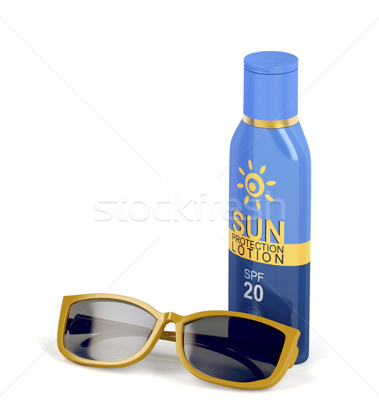 Sunscreen lotion and female sunglasses Stock photo © magraphics