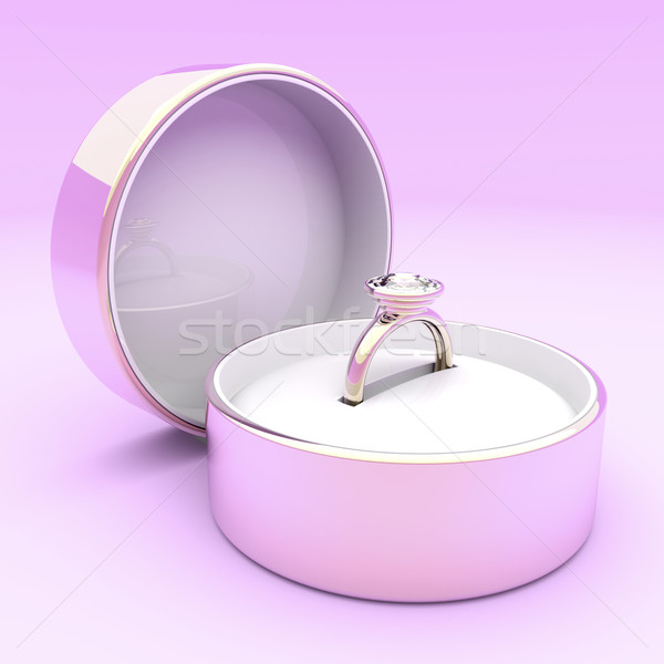 Rose or bague en diamant boîte amour rose Photo stock © magraphics