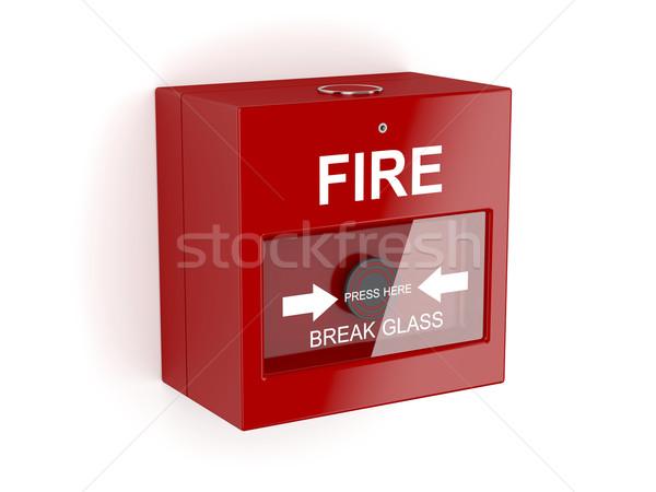Piros tűzjelző fehér gomb biztonság veszély Stock fotó © magraphics