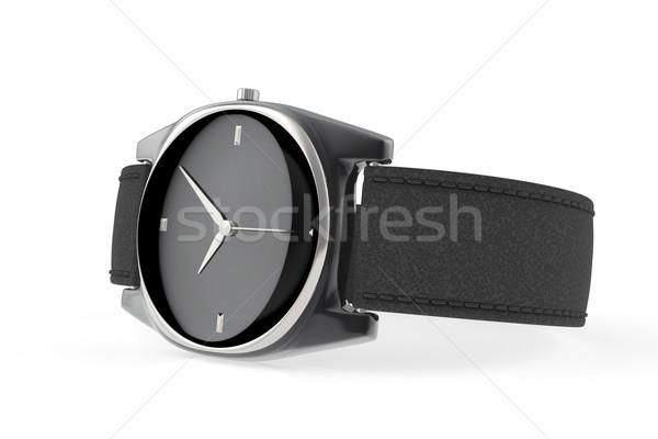 Elegante preto branco relógio metal Foto stock © magraphics
