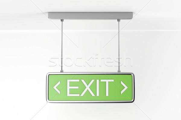 Vészhelyzet kijárat jelzés épület biztonság felirat zöld Stock fotó © magraphics