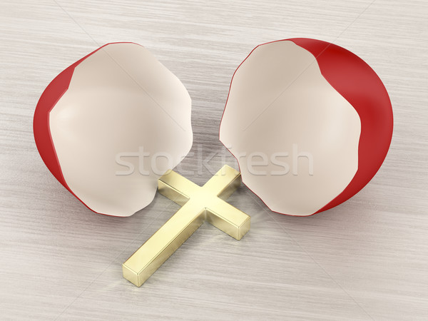 Stockfoto: Gebroken · eierschaal · kruis · christelijke · gouden · binnenkant